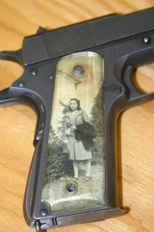 During WWII, soldiers were known to take precious family photos (and Pinup Girl photos) and put them under clear grips on their 1911 pistols - called Sweetheart Grips. Many of the grips were made from pieces of broken plastic windows from bombers.