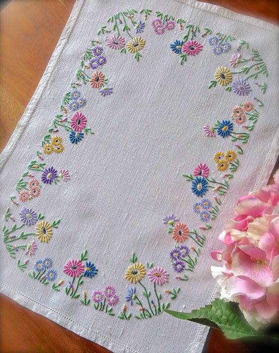 Check out this item in my Etsy shop https://www.etsy.com/uk/listing/473802690/hand-embroidered-floral-vintage-linen