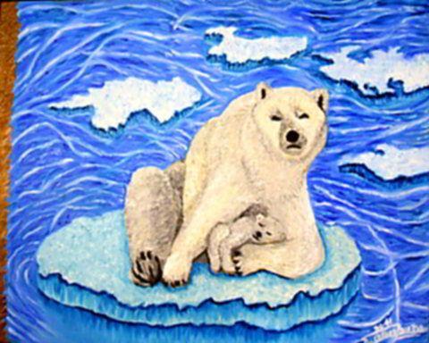 Klímaváltozás - Állatok jegesmedvék olajfestmény