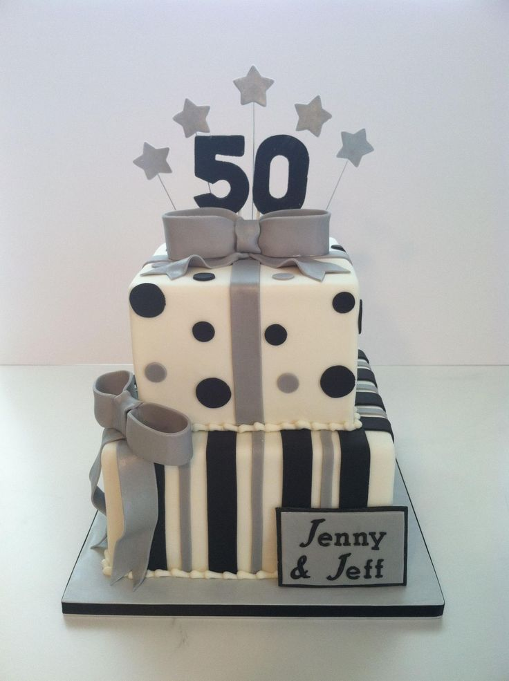 Black & Silver 50th Birthday Cake