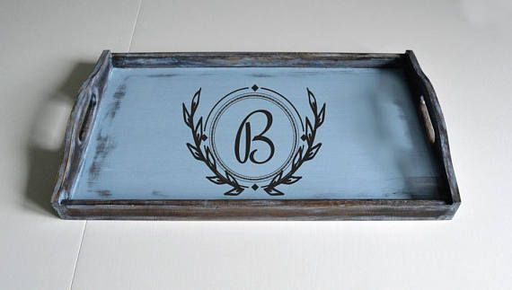 Large Tray-Personalized Serving Tray-Custom Tray-Initial Tray-Serving Tray Initials-Monogram Tray-Wood Serving Tray-Breakfast Tray  A brown and blue monogram serving tray!  It is breakfast tray with initial.  It is very light and perfect as wood serving tray!   It has been stained rustic brown and painted blue and has been sanded to give this distressed and shabby chic effect !   This breakfast tray has been waxed and sealed for protection !