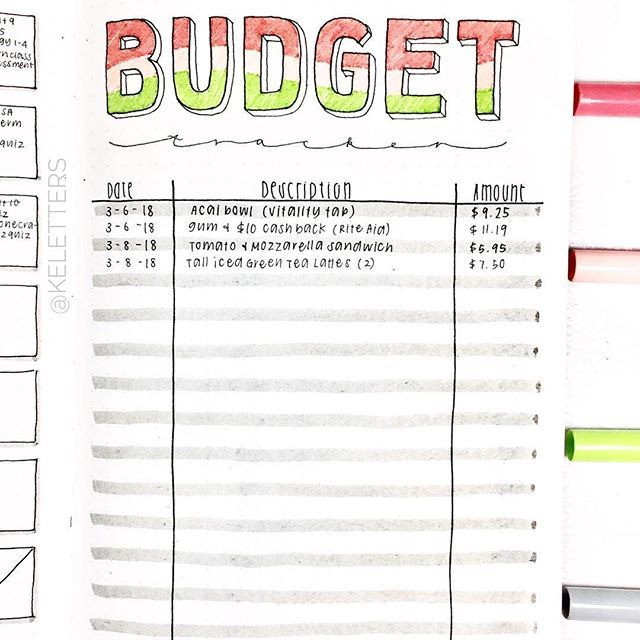 budget tracker bullet journal ideas  get control of your