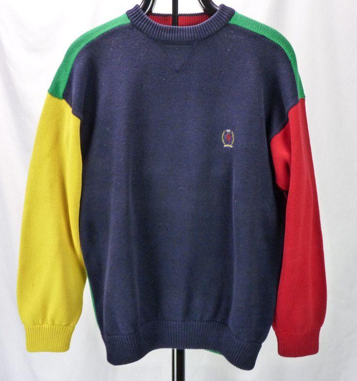 Vintage 90s Tommy Hilfiger Classic 4 Color Primary Colorblock Crew Sweater S M Vintage Ideas Vintage Clothes 90s Tommy Hilfiger Vintage Vintage Outfits