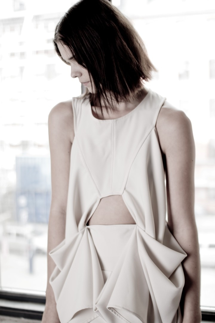 Dress with symmetrical draped 3D structure - fabric manipulation; garment design detail; sewing // Vibe Johansson