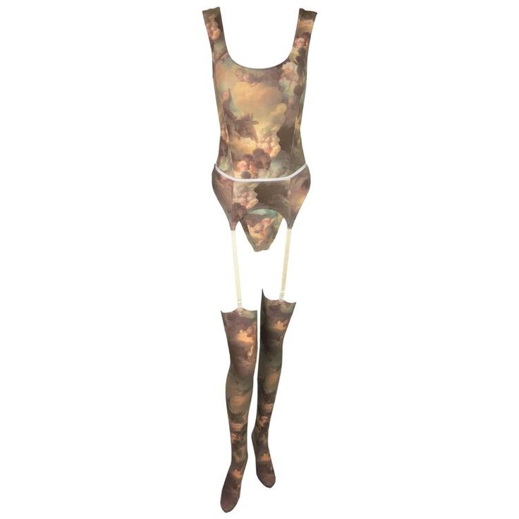 1992 Vivienne Westwood x Sock Shop Putti Print Bodysuit Garter Belt & Tights 1