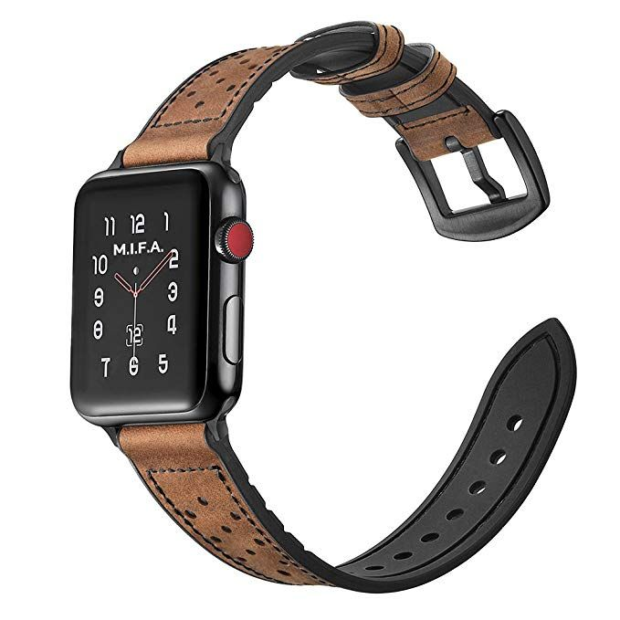 Mifa Hybrid Leather Sports Band Compatible Apple Watch Vintage Dressy Bands Dark Brown Replacement Stra Apple Watch Apple Watch Bands Fashion Apple Watch Bands