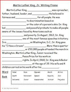 Using vocabulary in context is an IEP goal for many of my upper elementary and middle school students. This writing frame helps students to use vocabulary in context as they learn about Martin Luther King, Jr.   I begin by activating students' prior knowledge of Dr.