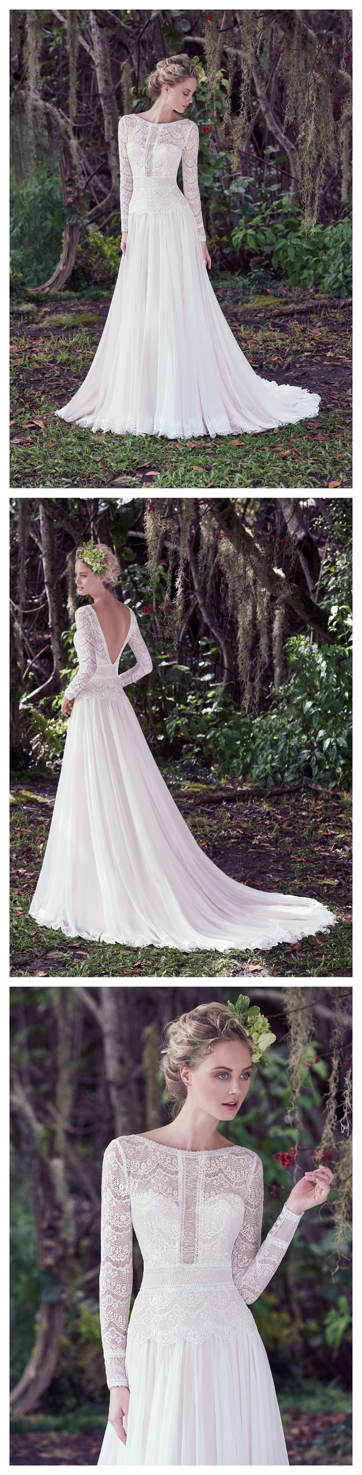 Deirdre by Maggie Sottero. This long sleeve wedding dress is made of subtle lace and Santorini chiffon. A-linegown, complete with bateau neckline,illusion lace details and stunning V-back. Finished with zipper closure.