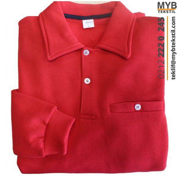 Sweat T-Shirt Polo Yaka Kırmızı   iş elbisesi   iş elbiseleri