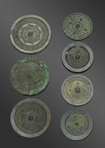 A group of seven bronze mirrors, Han dynasty