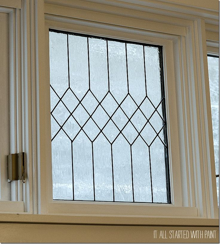 DIY:  How to Create a Faux Leaded Glass Window - this is a great way to add privacy, yet still let in the light, and it's easy to remove if you change your mind - via Remodelaholic