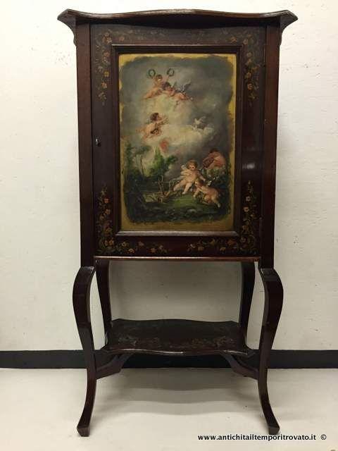 Mobili antichi - Mobili vari Piccola credenza Vittoriana dipinta con putti - Antica credenzina Vittoriana scena con angeli Immagine n°1