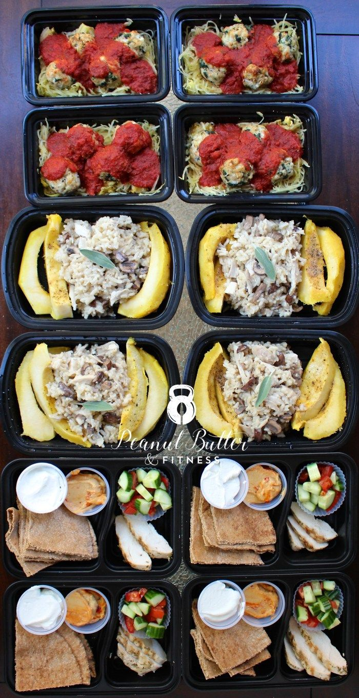 Meal Prep Ideas for the week! My meal plan includes: - Turkey Spinach Meatballs with Spaghetti Squash - Chicken and Mushroom Risotto Stuffed Acorn Squash - Mediterranean Chicken Pitas Full recipes and nutrition info available! #MealPrep #MealPrepMonday