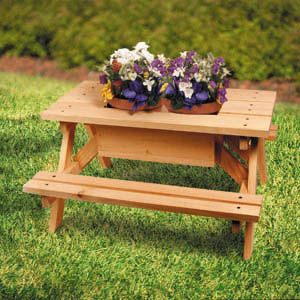 Mini Picinic Table Planter DIY Woodcraft Pattern #1728   Mini Picnic Table  Planter Container Gardening