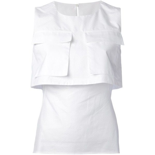 ALEXANDER MCQUEEN pocket detailed top (538 705 LBP) ❤ liked on Polyvore featuring tops, perrie edwards, perrie tops, sleeveless tops, alexander mcqueen, white top, slit back top, sleeveless tank tops y white sleeveless top