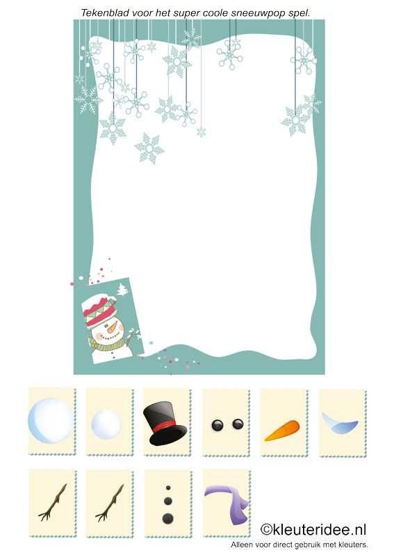 Het super coole sneeuwpop spel, scoreblad , kleuteridee.nl , super cool snowman game for preschool score sheet , free printable.