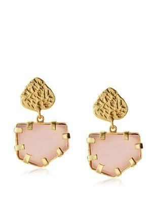 65% OFF Saachi Pink Glass Pentagon Drop Earrings