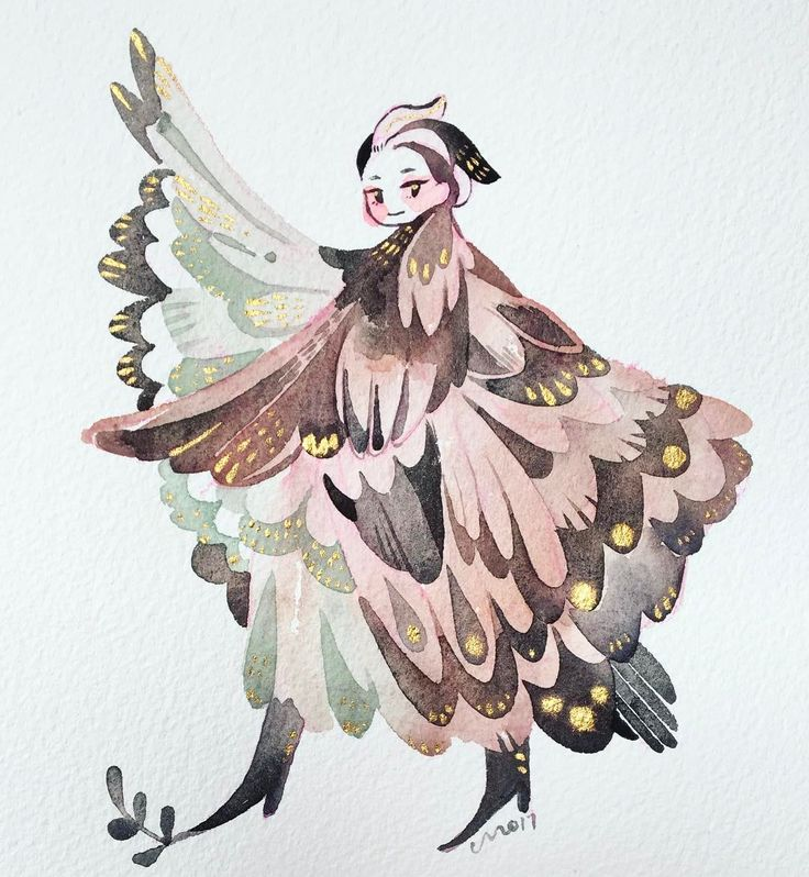 a lady with a coat that is also a bird