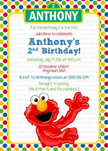 Sesame Street Elmo Personalized Birthday Party Invitation Printable Digital File