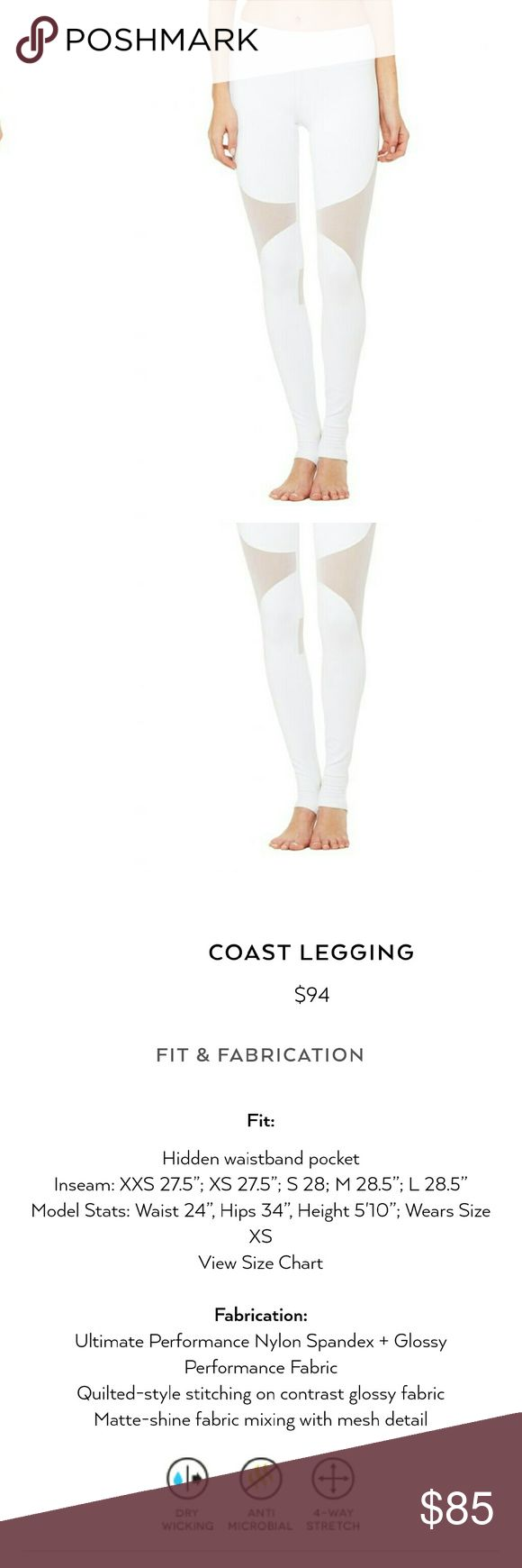 New alo yoga Coast leggings mesh athleisure lulu New alo yoga Coast leggings  Beautiful mesh detailing ... perfect athleisure  Whent on a shopping binge and now paying for it over the holidays :( needs a good home  Also have it in.... Grey S Black S ALO Yoga Pants Leggings