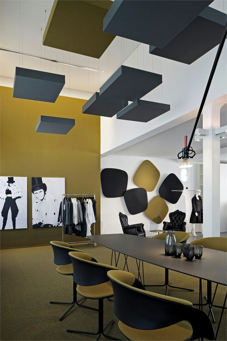 Acoustic ceiling cloud and wall panels