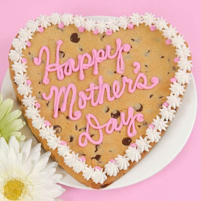 """Giant Happy Mother's Day Cookie $25.00 Send delicious and heartfelt wishes for Mother's Day with an 8"""" heart shaped chocolate chip cookie decorated in butter cream icing. www.adamesgifts.com"""