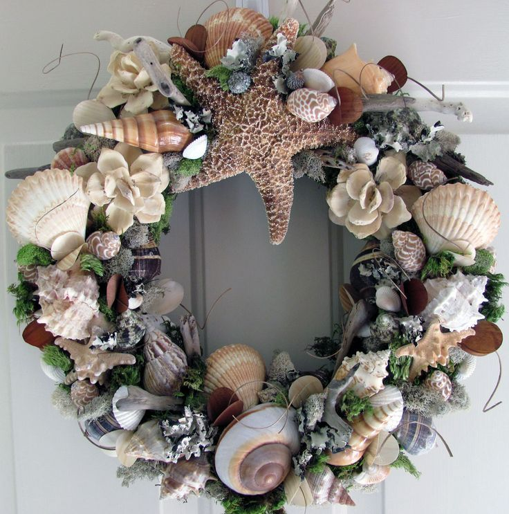 Shell craft wreaths natural shell wreath craft ideas for Seashell wreath craft ideas