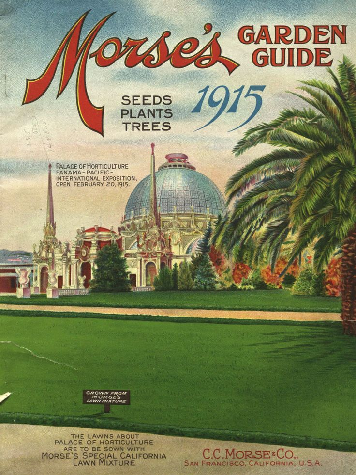 From the collection at Andersen Horticultural Library.  Morse Seed Co.'s 1915 Garden Guide pictures the Palace of Horticulture from the  Panama-Pacific International Exposition located in San Francisco. As its name suggests, the 1915 Exposition celebrated the completion of the Panama Canal.