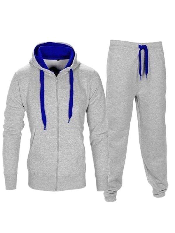 TOP Men Sweatshirt+Sweatpants Tracksuit Hoodie Top Pant Set Bottoms Joggers Suit