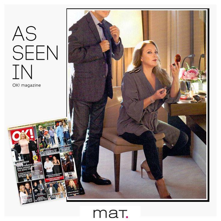 #matfashion as seen in magazines! Το @okmagazinegr φιλοξενεί την αγαπημένη Ρένια Λουιζίδου φορώντας την χακί αέρινη πουκαμίσα με ζωνάκι [code: 661.3028.2] #okmagazine #renialouizidou #wears_mat