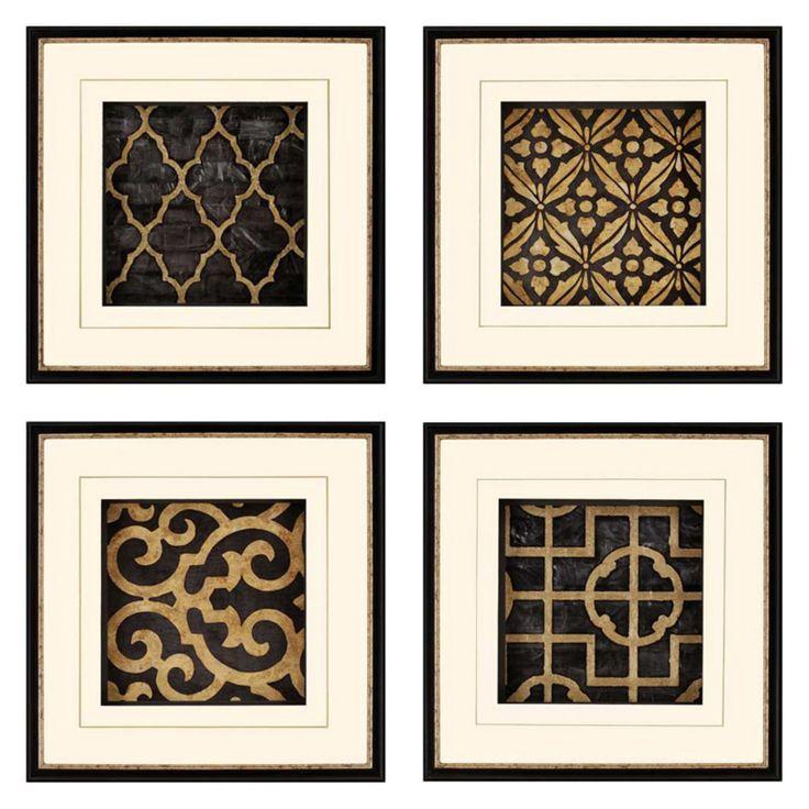 Paragon Decor Ebony Framed Wall Art Set Of 4 Framed