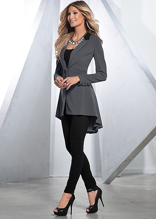 Let your blazer be long, not your meetings! Venus long ruffle back blazer with Venus slimming stretch jeggings.