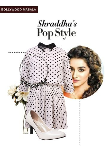 'Shraddha's pop style' by me on Limeroad featuring Polka Dots White Dresses, Black Necklaces with White Pumps