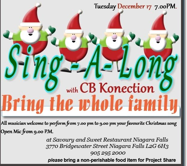 Sing-A-Long Christmas songs and Open Mic Tuesday the 17th of December 2013 with CB Connection