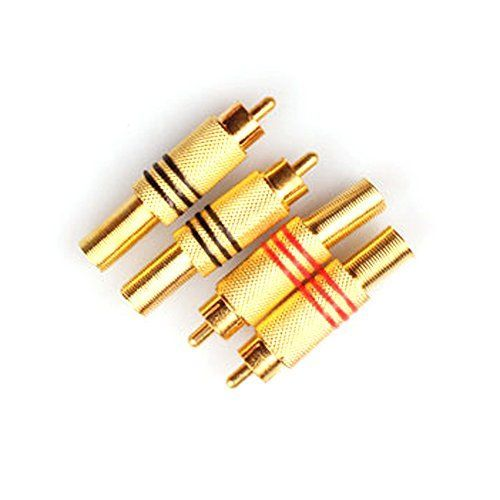 Woshida 4 Pack Gold Plated RCA Male Connector AV Free Solder Camera Audio Pickup Accessories