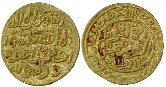 Delhi Sultanate, Muhammad Bin Tughluq, Shahr Sultanpur Mint, Gold Tanka, AH 72X, Obv: ashhad an la ilaha illallah wa ashhad anna muhammad abduhu wa rasuluhu, Rev: al-wathiq bi-ta'yid al-rahman muhammad shah al-sultan, 12.80g, 26.25mm