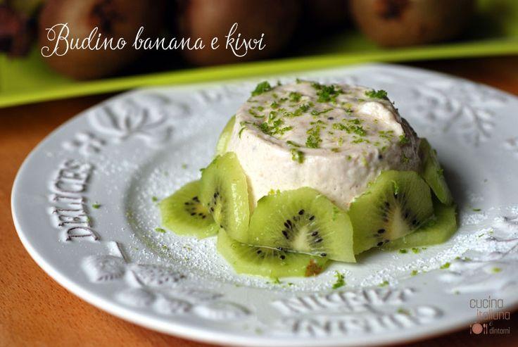 Budino di banana e kiwi aromatizzato al lime