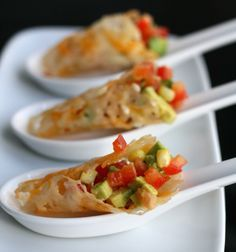 Parmesan cones with avocado and red pepper