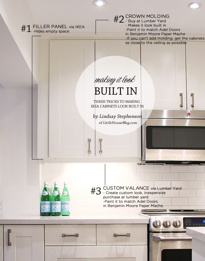 Tips for making your IKEA cabinets look built in.  Use filler panels, crown molding, and trim work.  Use Benjamin Moore Paper Mache to get an exact match of the Adel Cabinet color