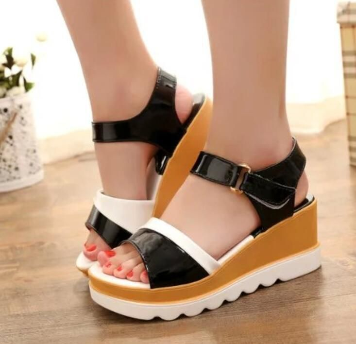 Hot Womens Faux Leather Platform Creeper Sandals Ladies Wedge College Shoes Size