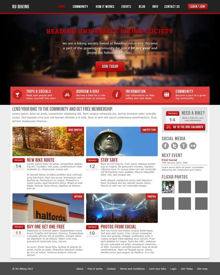 University biking society website design
