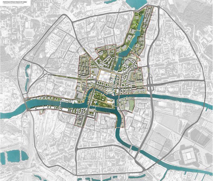 Esquema estilo para plano del corredor verde propuesto por el PGOU. City of Kaliningrad, Devillers & associés + Off The Grid + 2:pm architectures - BETA