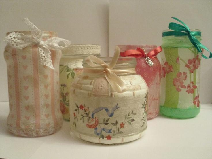Handmade decoupage jars.