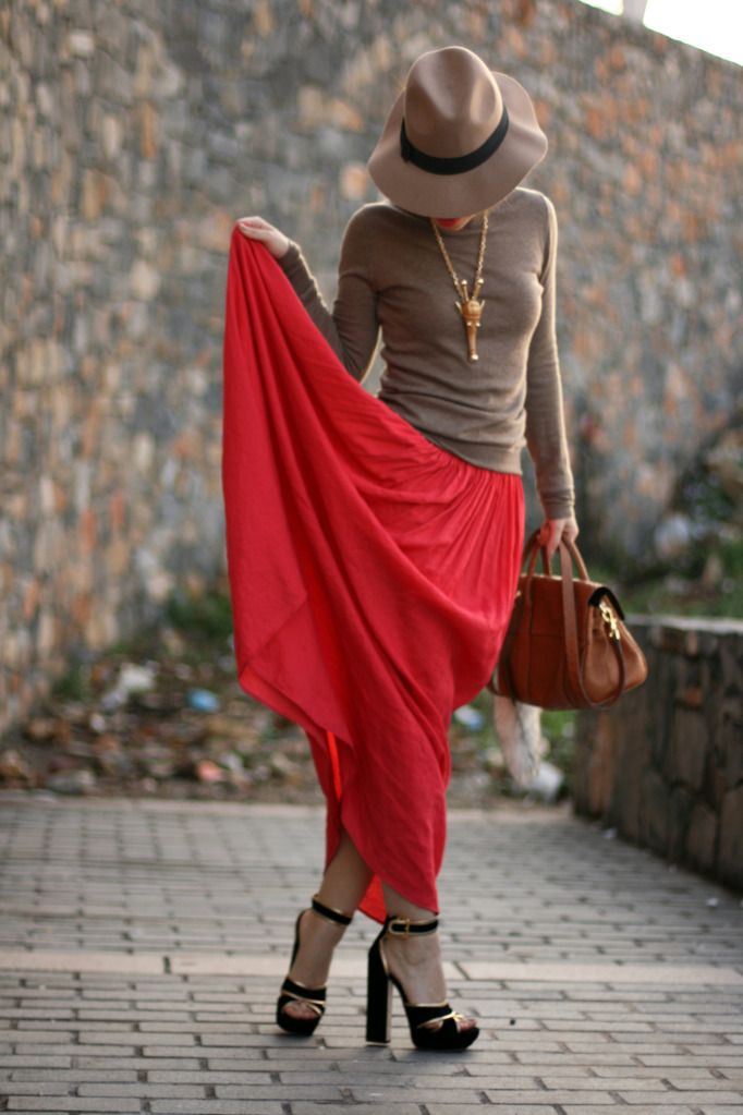 love it all...: Color Combos, Fashion Style, Clothing, Outfit, Long Skirts, Cozy Sweaters, Red Skirts, Red Maxi, Maxi Skirts