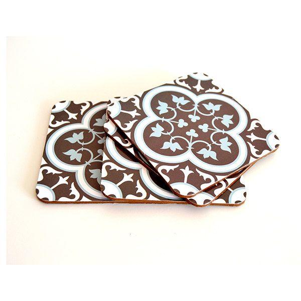 MDF Tile Drink Coasters,dark brown and azure Coasters,Drink Coasters 171 by videcor on Etsy