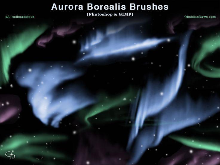Aurora Borealis Photoshop and GIMP Brushes by redheadstock.deviantart.com on @DeviantArt