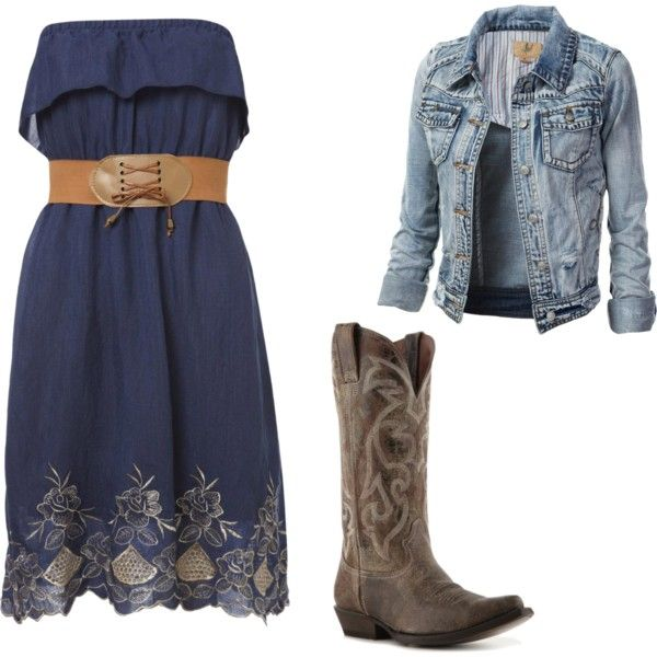 """""""Country Chic"""" cute dress and belt and bonus...already have these boots!"""