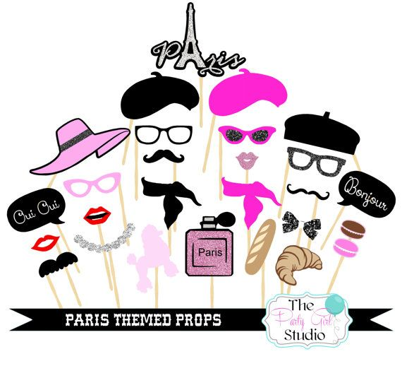 27pc Paris Party Photo Booth Propsparisian Partyphotobooth Props