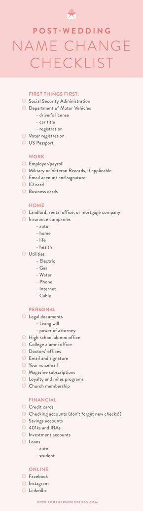 How to Change Your Name Post-Wedding - A free, downloadable checklist to help you change your name post-wedding! If you're considering a name change, this article is for you.