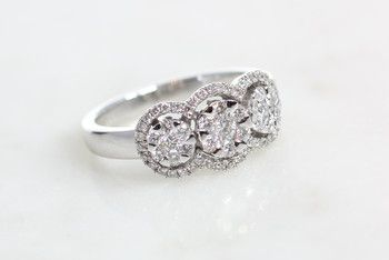 Bilkey & Co. three cluster ring in white gold and diamonds.
